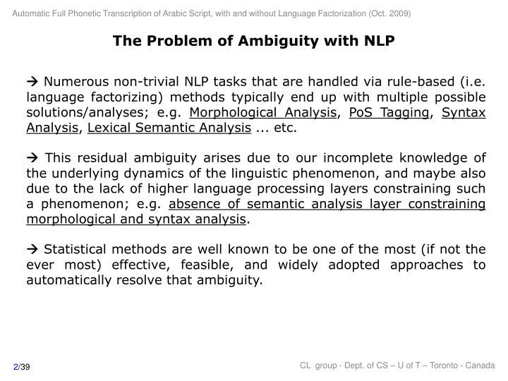 The problem of ambiguity with nlp