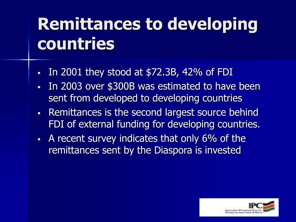 Remittances to developing countries