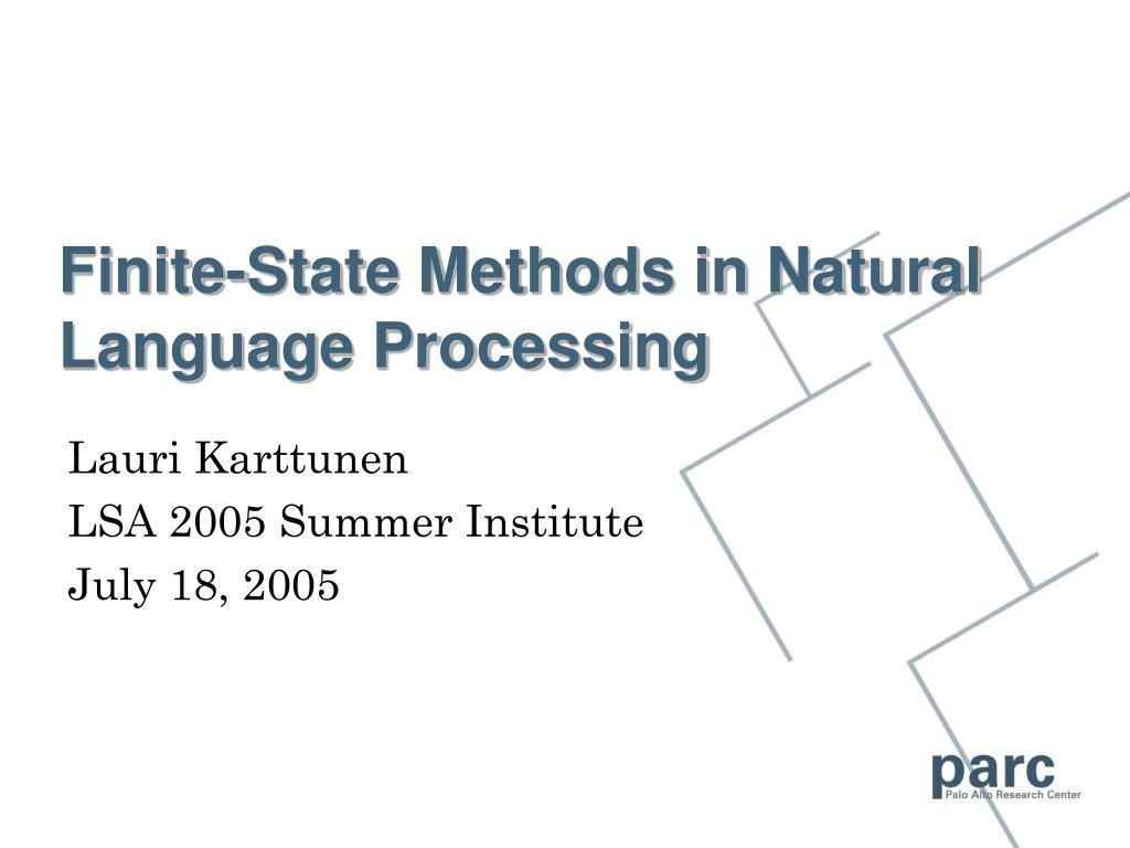 Finite-State Methods in Natural Language Processing