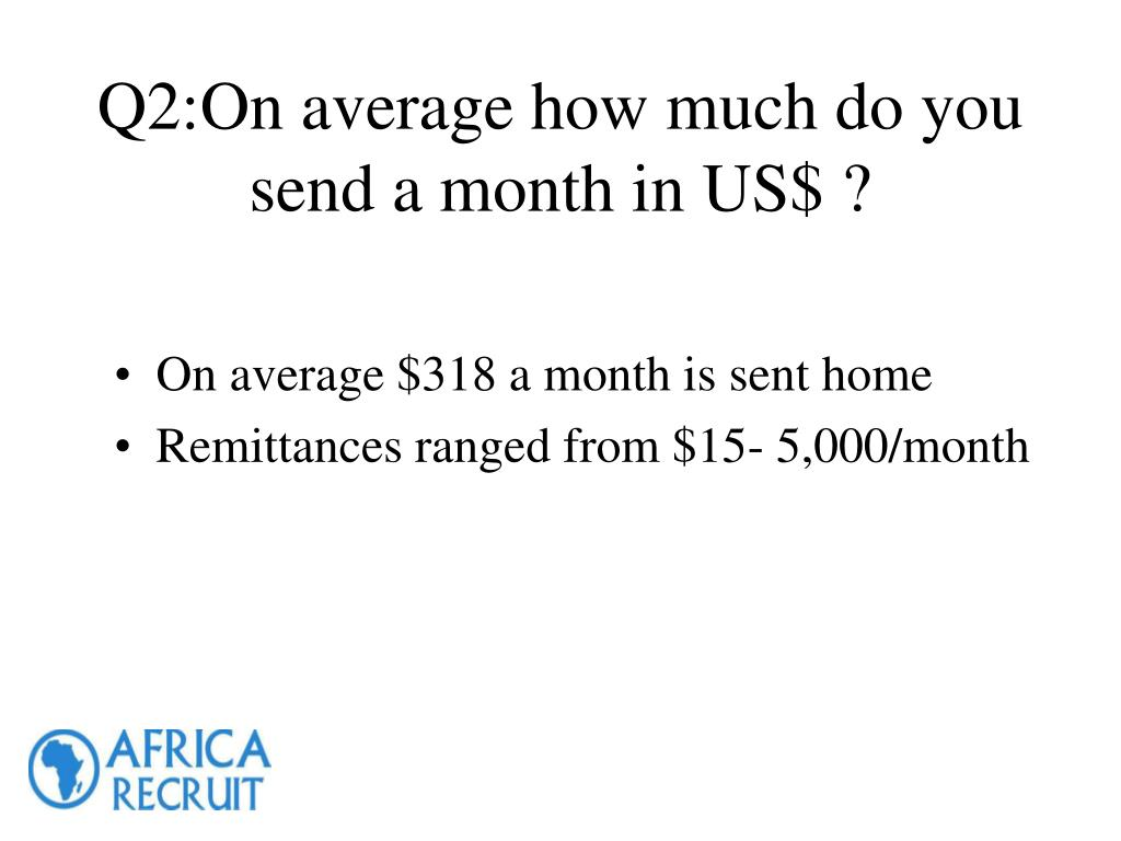 Q2:On average how much do you send a month in US$ ?