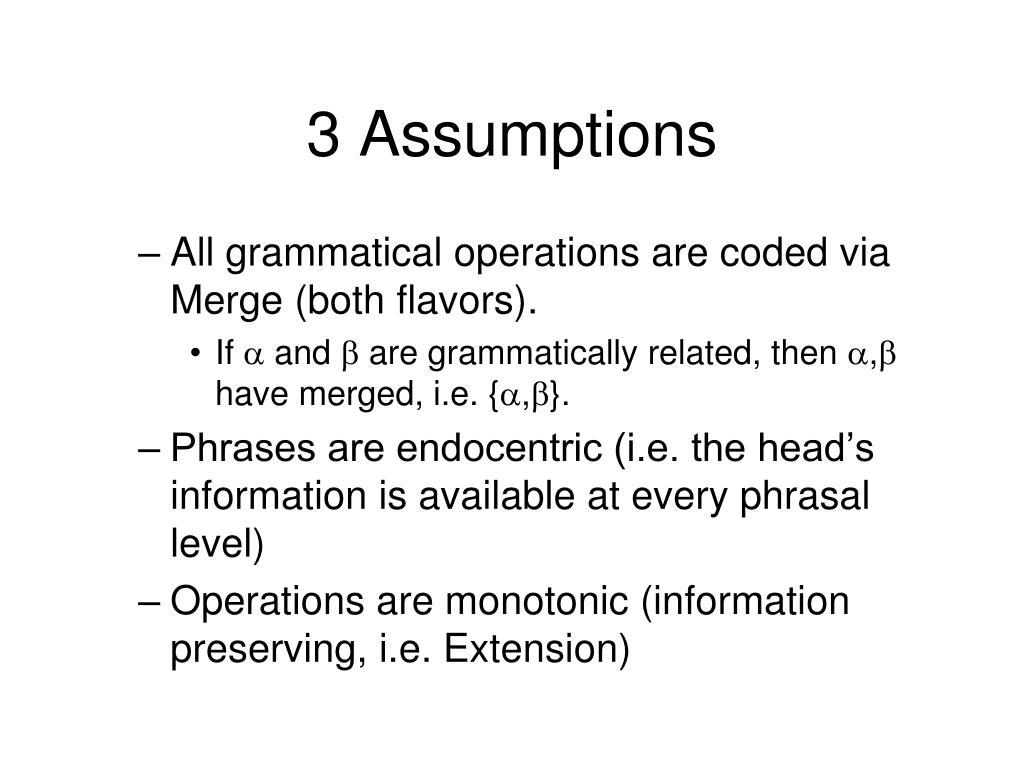 3 Assumptions