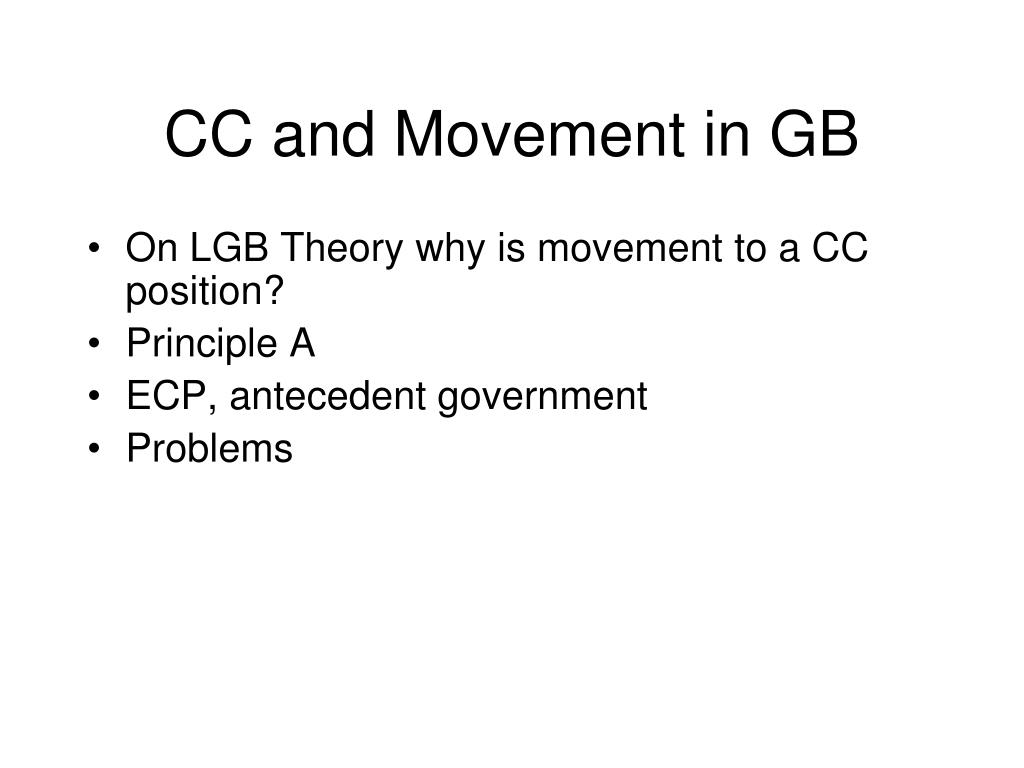 CC and Movement in GB