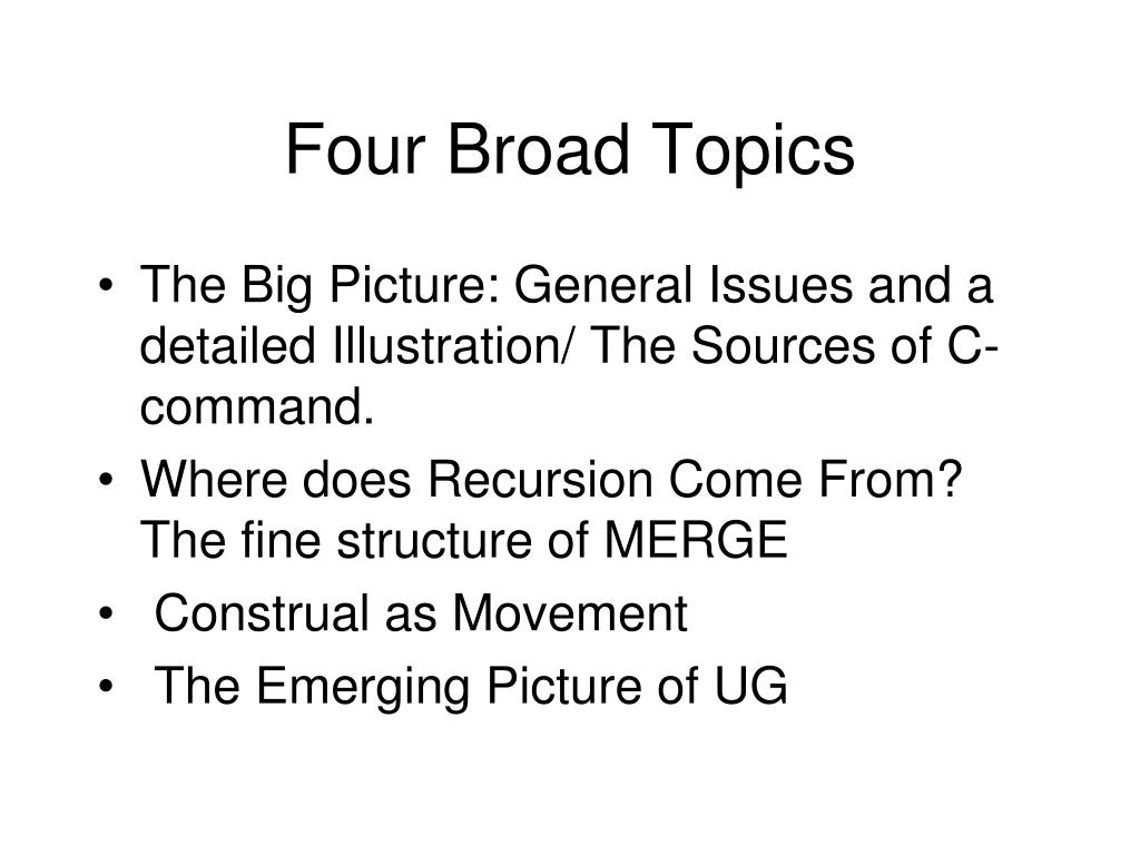 Four Broad Topics