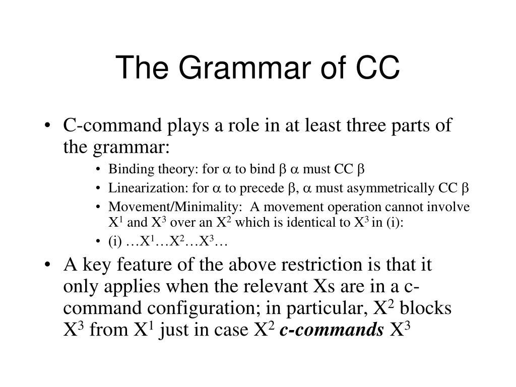 The Grammar of CC