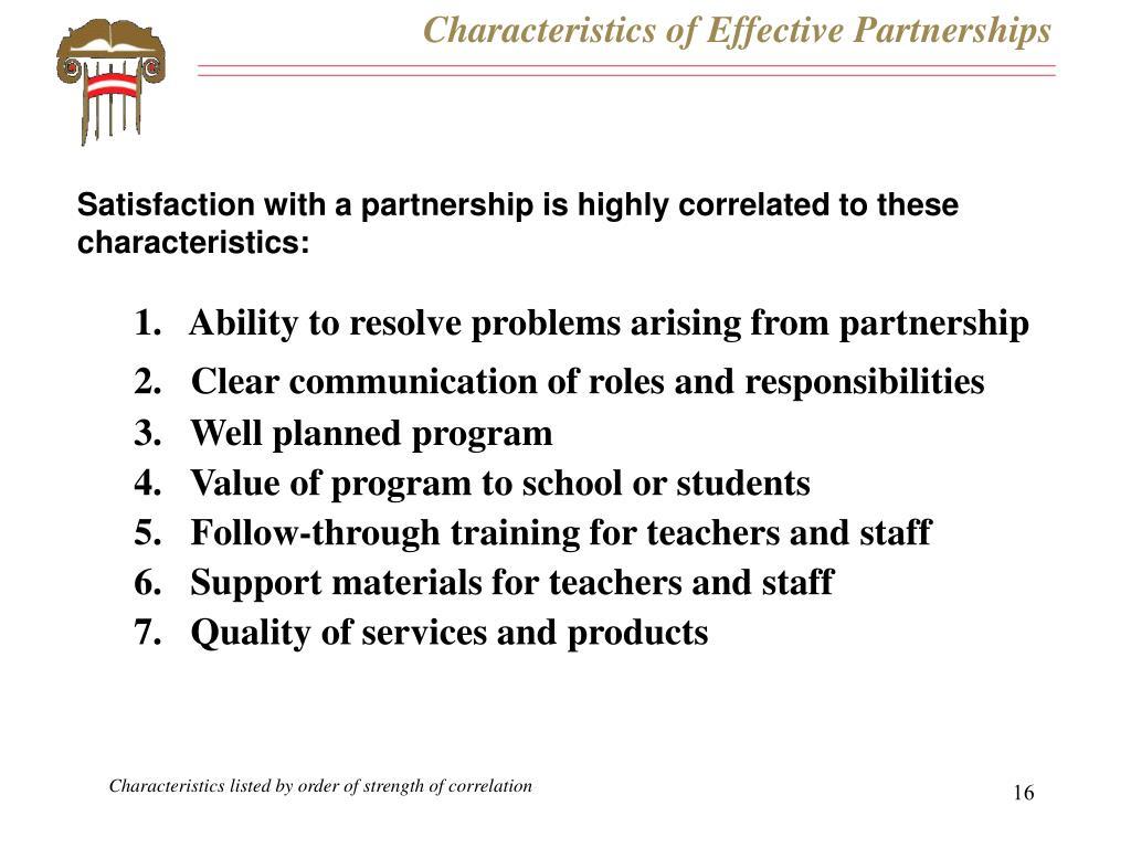 Characteristics of Effective Partnerships