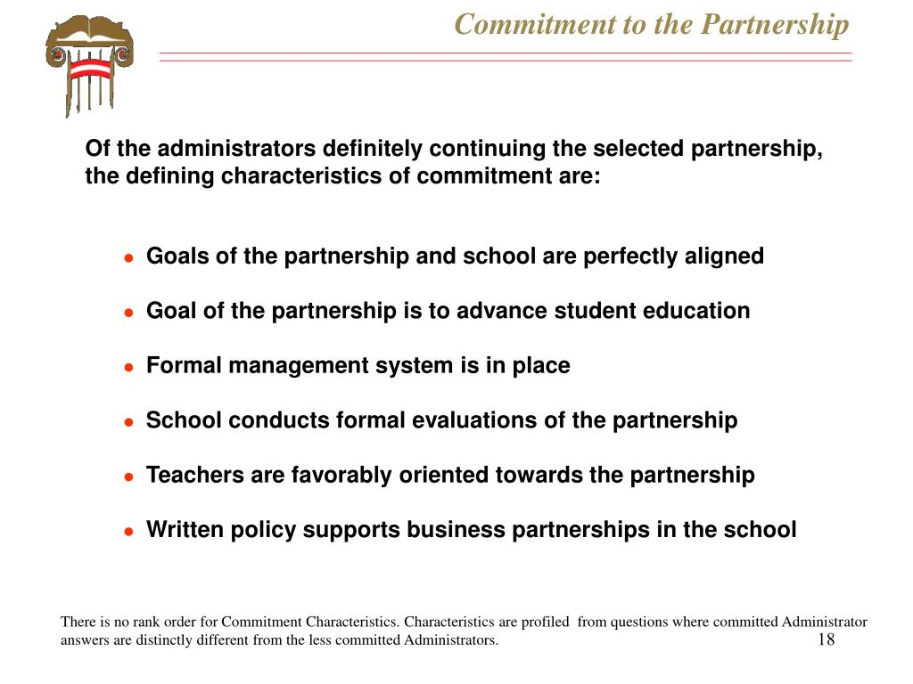 Commitment to the Partnership