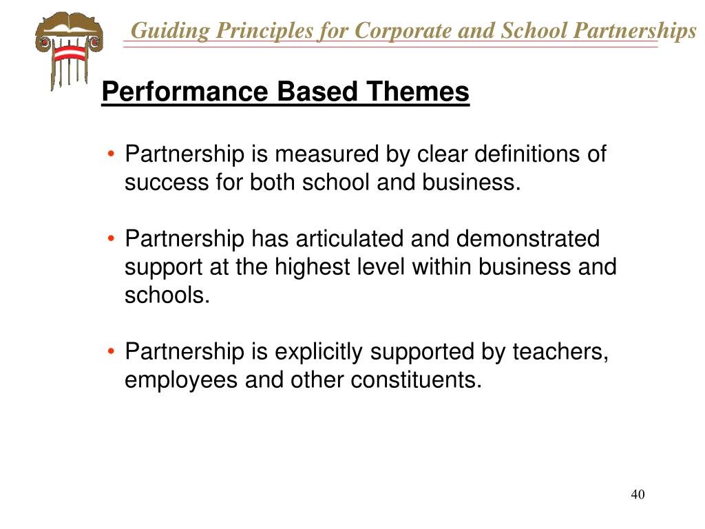 Guiding Principles for Corporate and School Partnerships