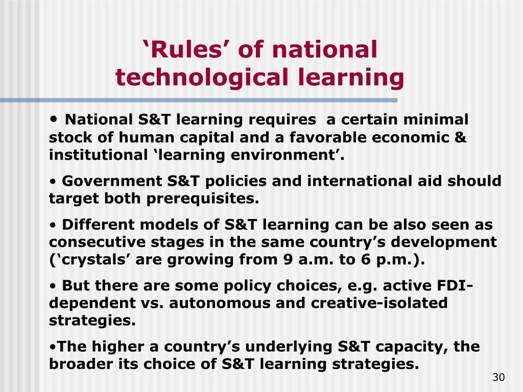 'Rules' of national technological learning