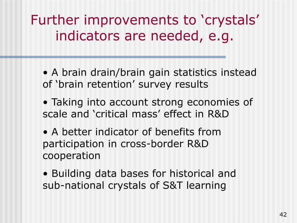 Further improvements to 'crystals' indicators are needed, e.g.