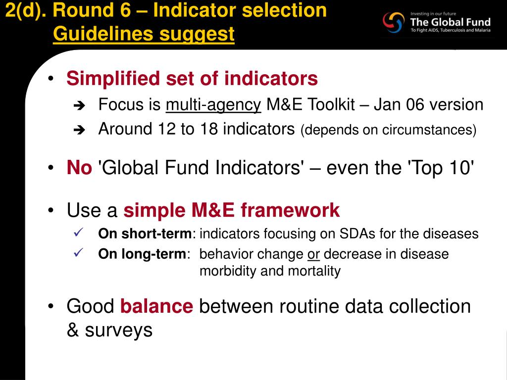 2(d). Round 6 – Indicator selection