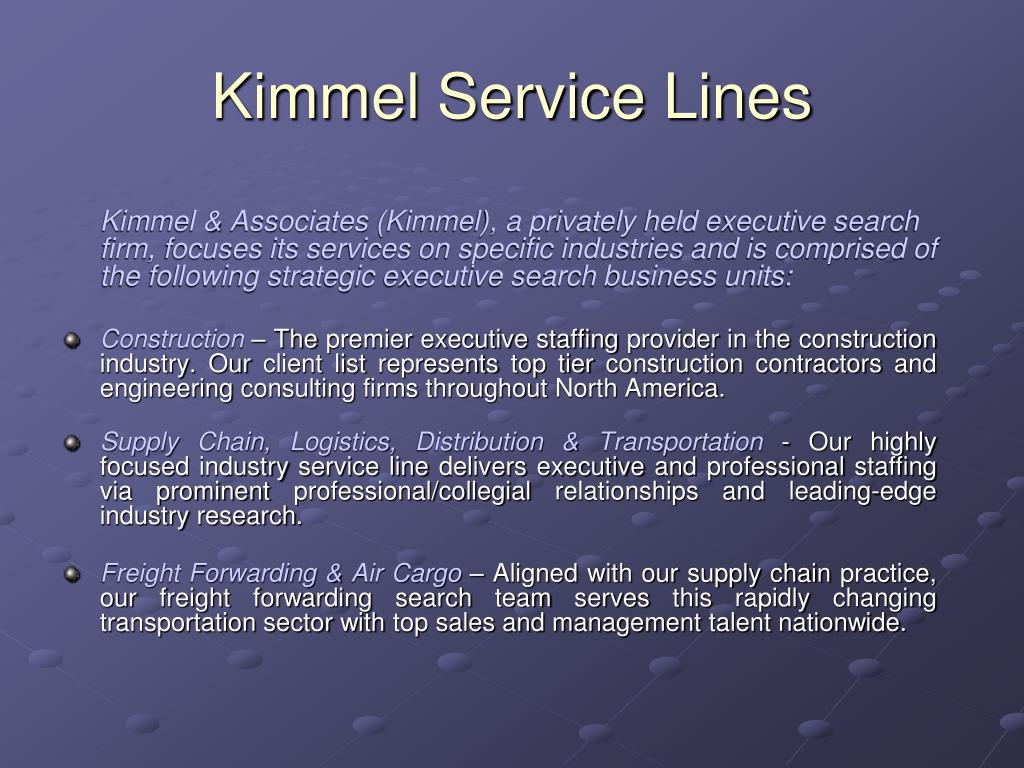Kimmel Service Lines