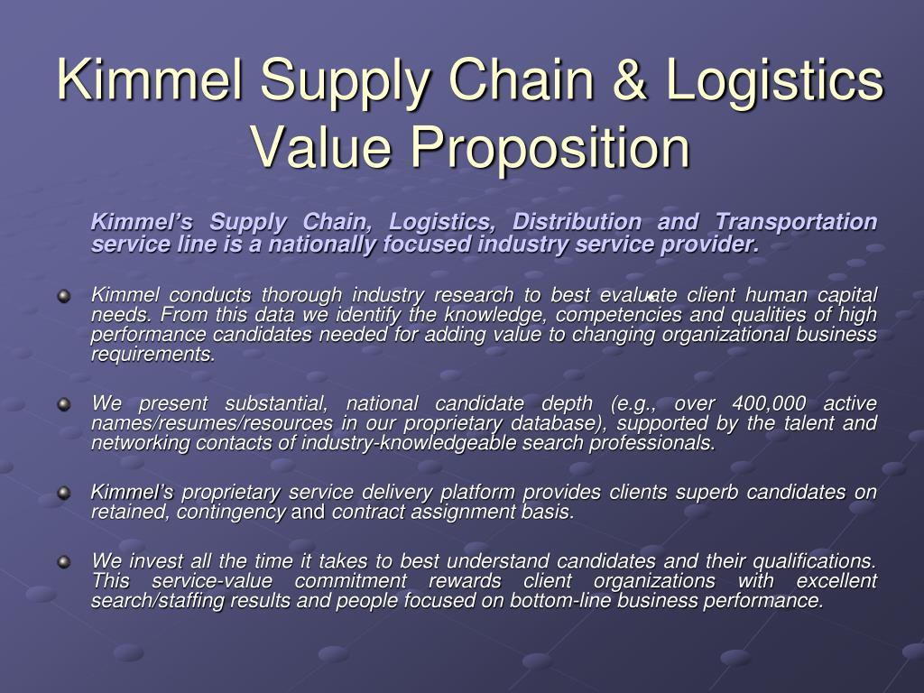 Kimmel Supply Chain & Logistics