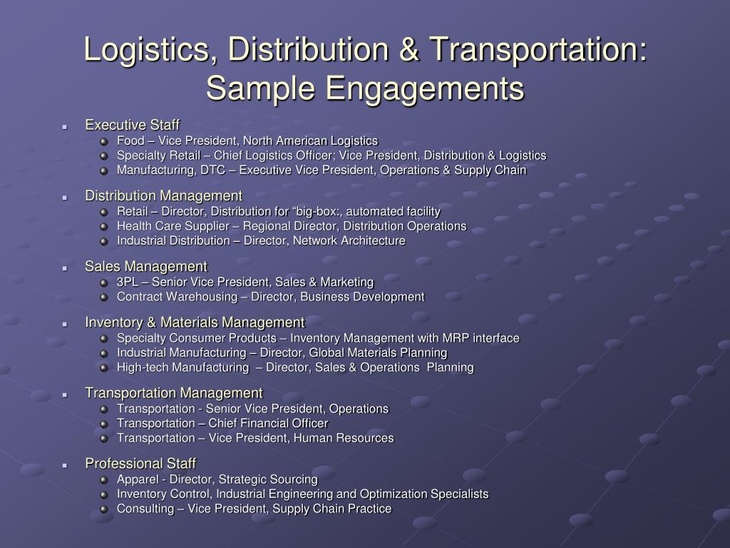 Logistics, Distribution & Transportation: Sample Engagements