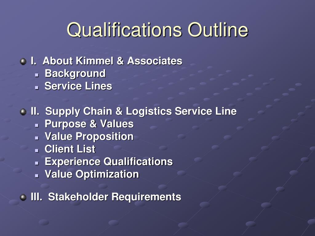 Qualifications Outline