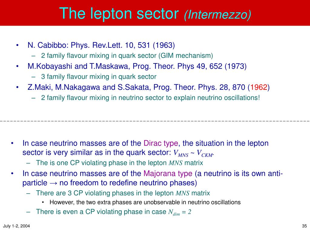 The lepton sector