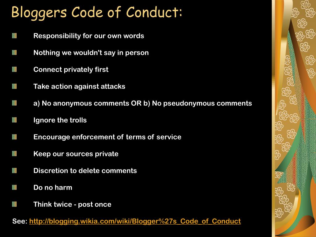 Bloggers Code of Conduct: