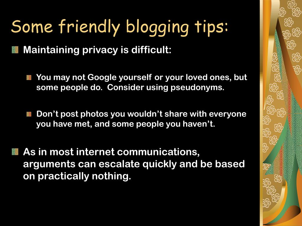 Some friendly blogging tips: