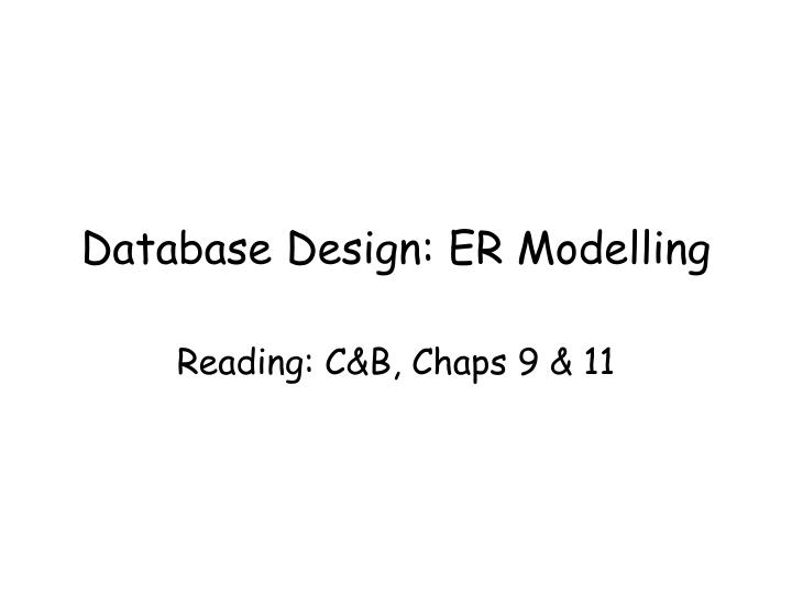 Database design er modelling
