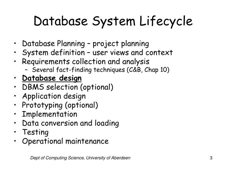 Database system lifecycle