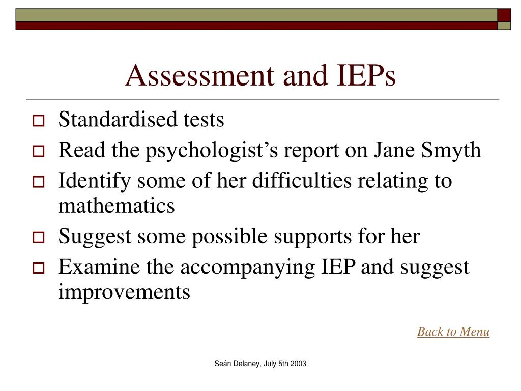 Assessment and IEPs