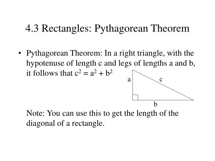 4.3 Rectangles: Pythagorean Theorem