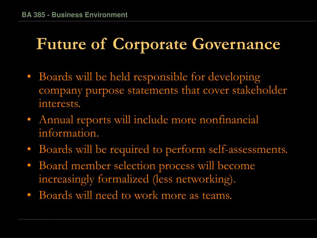 Future of Corporate Governance