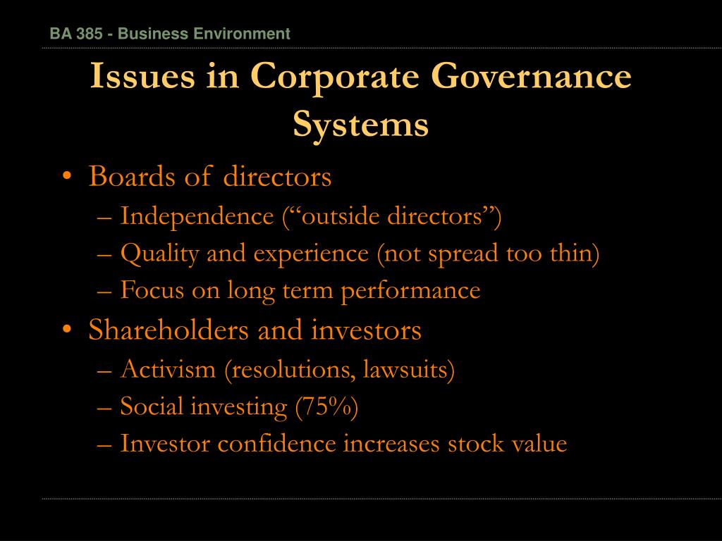Issues in Corporate Governance Systems