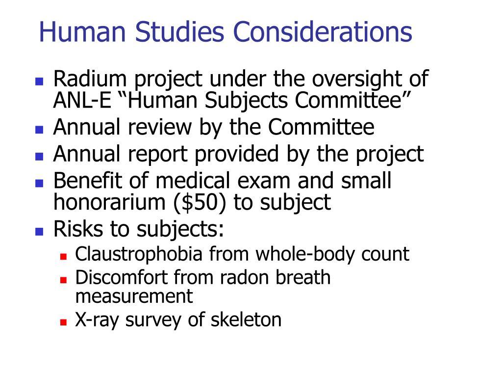 Human Studies Considerations