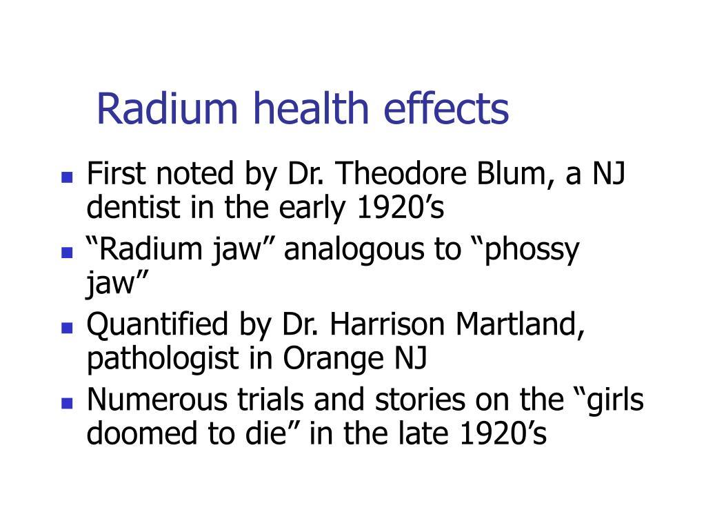 Radium health effects
