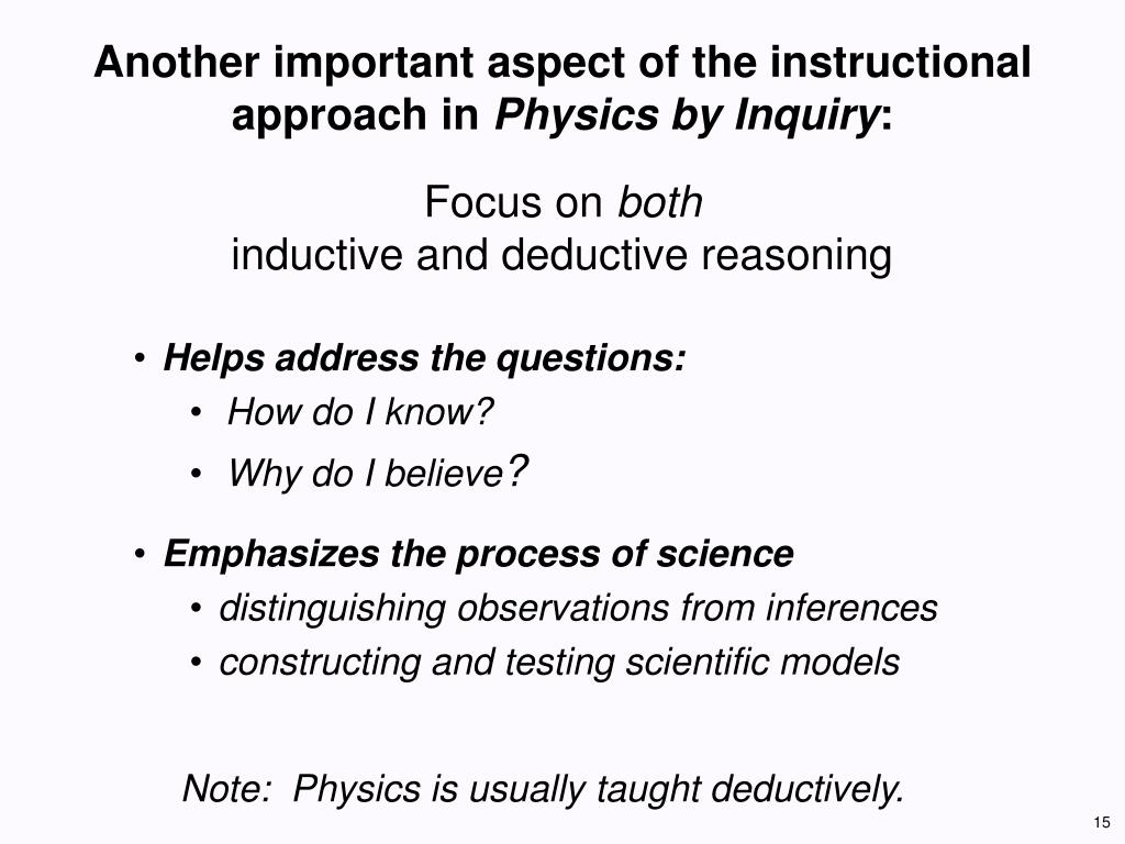 Another important aspect of the instructional approach in