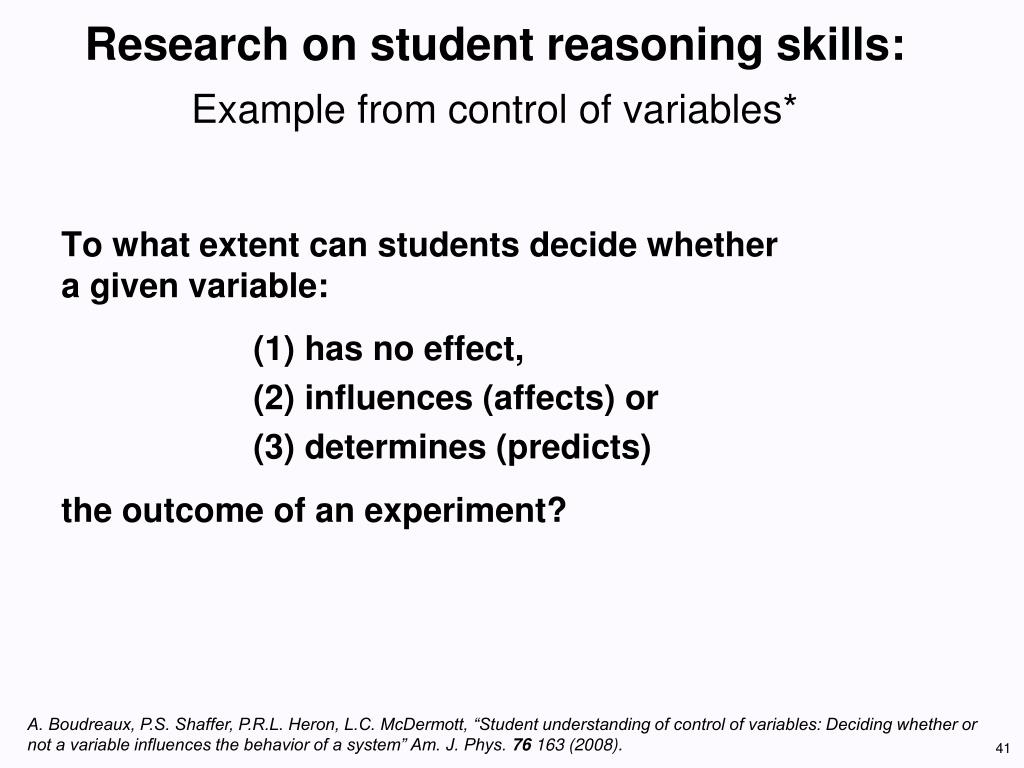 Research on student reasoning skills: