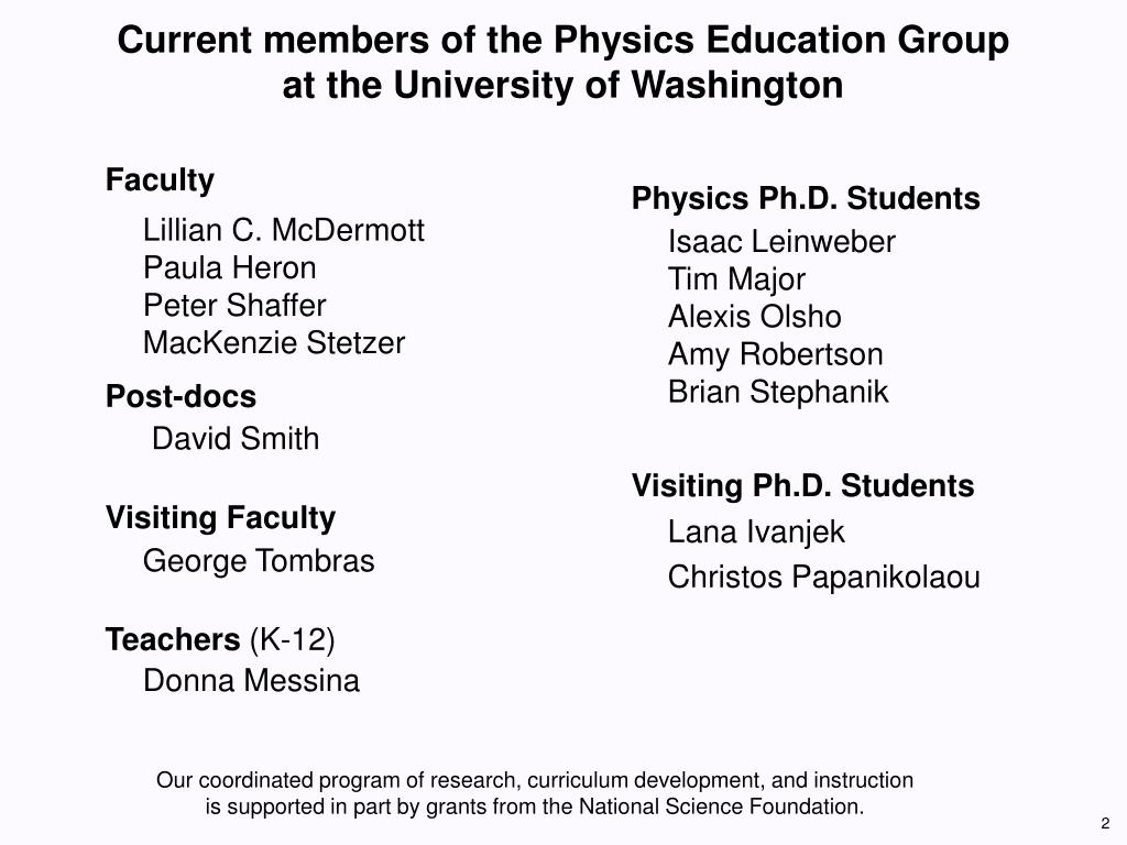 Current members of the Physics Education Group