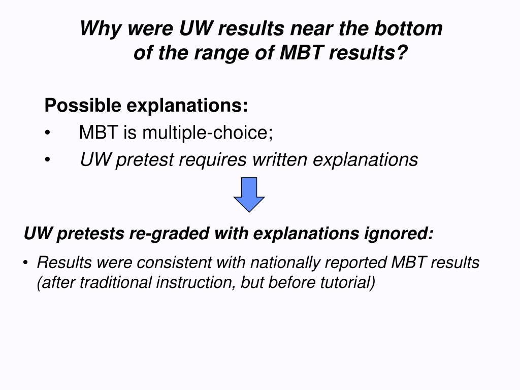 Why were UW results near the bottom of the range of MBT results?