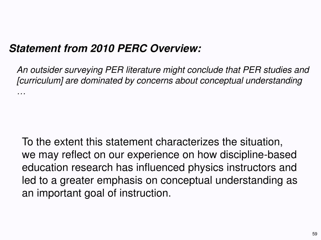 Statement from 2010 PERC Overview: