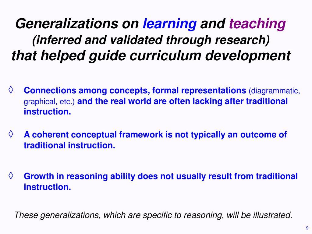 Generalizations on