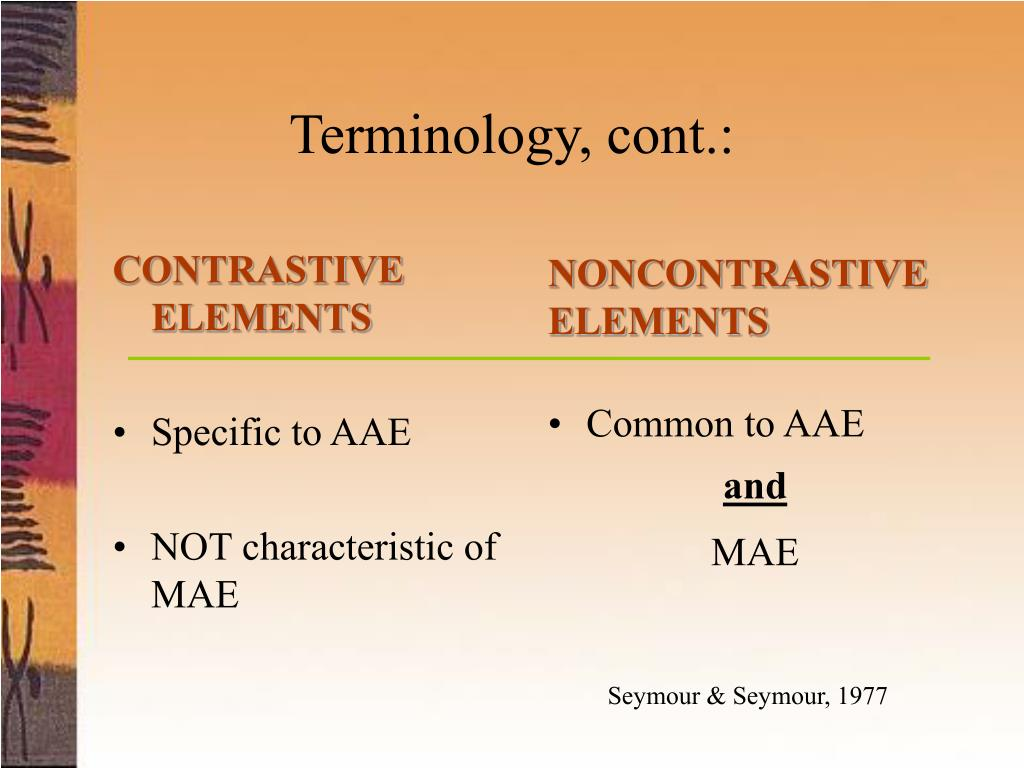 CONTRASTIVE ELEMENTS