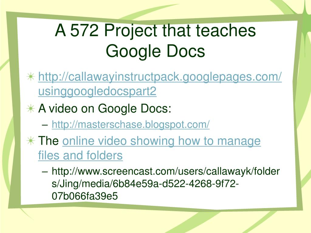 A 572 Project that teaches Google Docs
