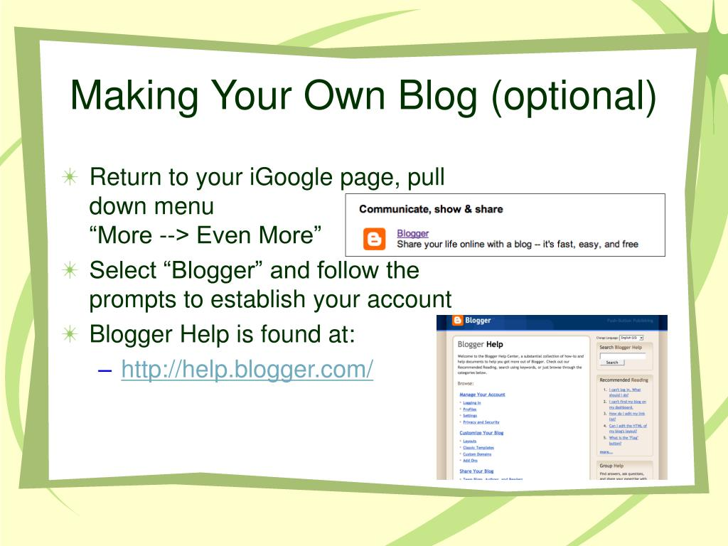 Making Your Own Blog (optional)