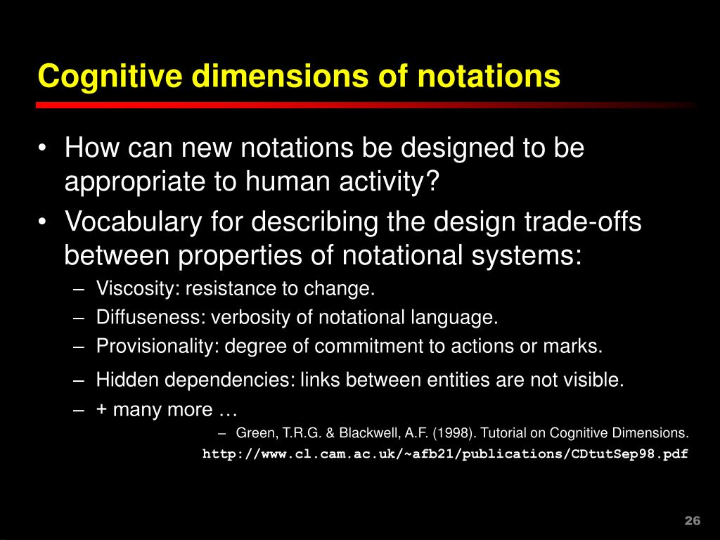 Cognitive dimensions of notations