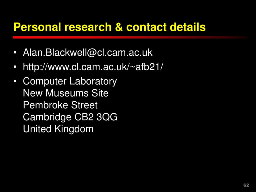 Personal research & contact details
