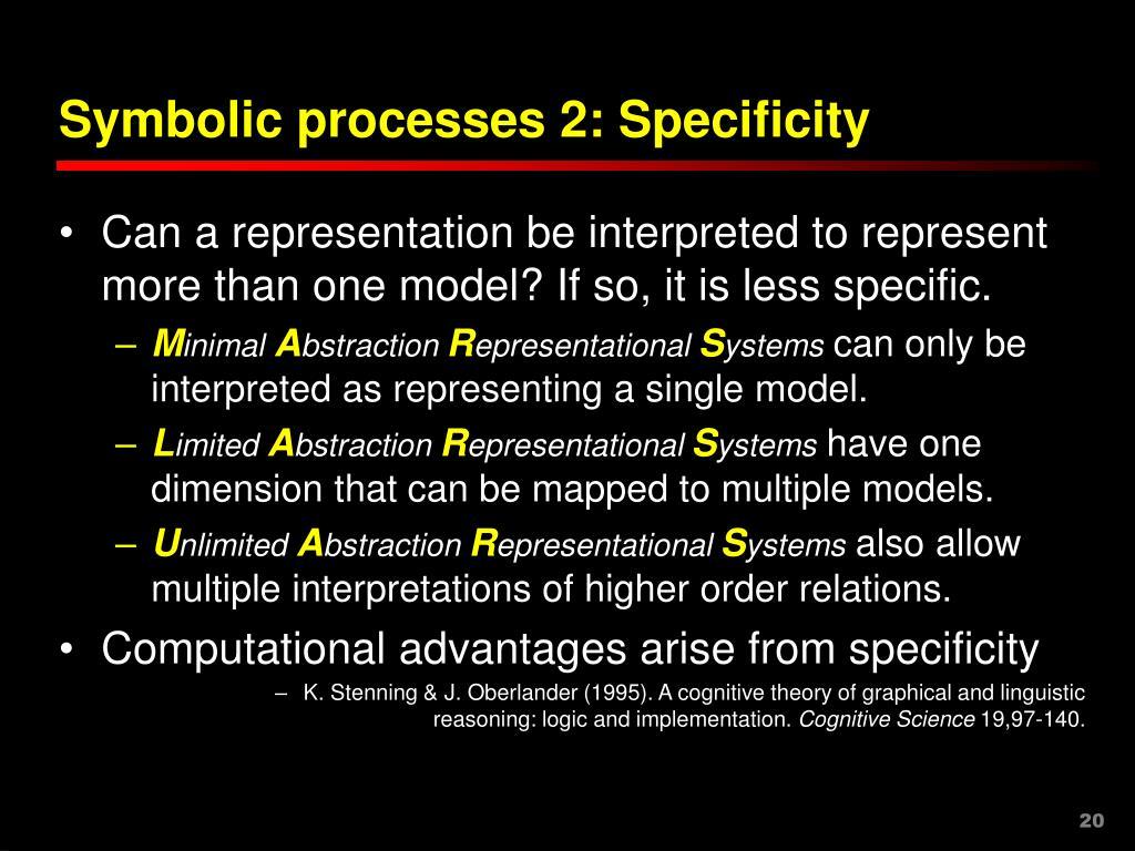Symbolic processes 2: Specificity