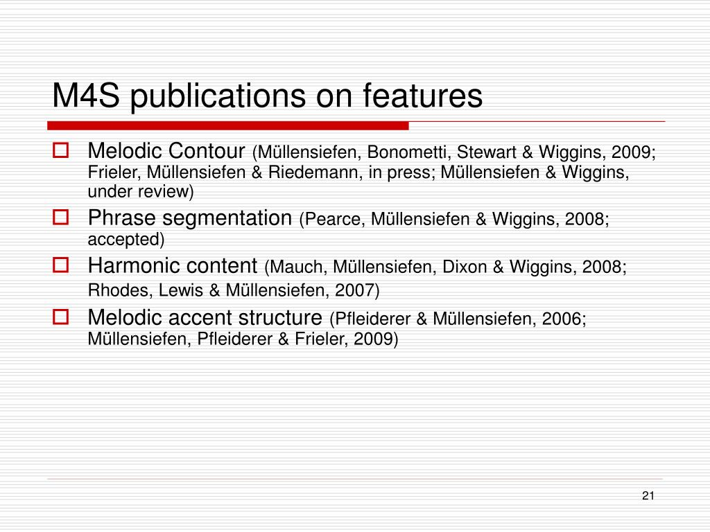 M4S publications on features