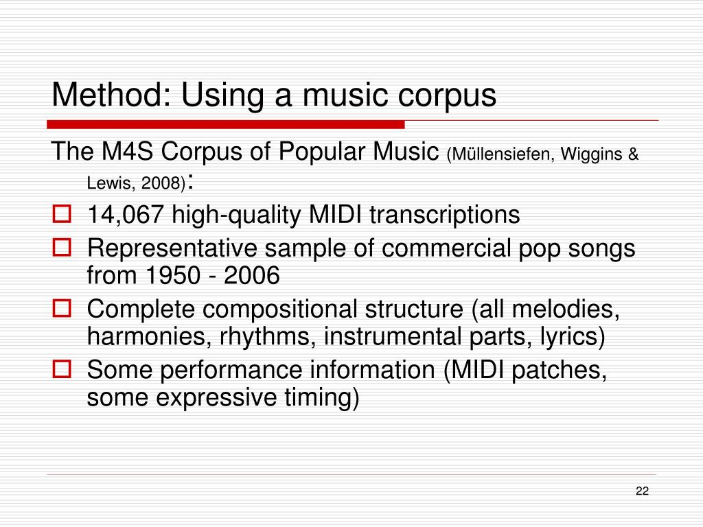Method: Using a music corpus
