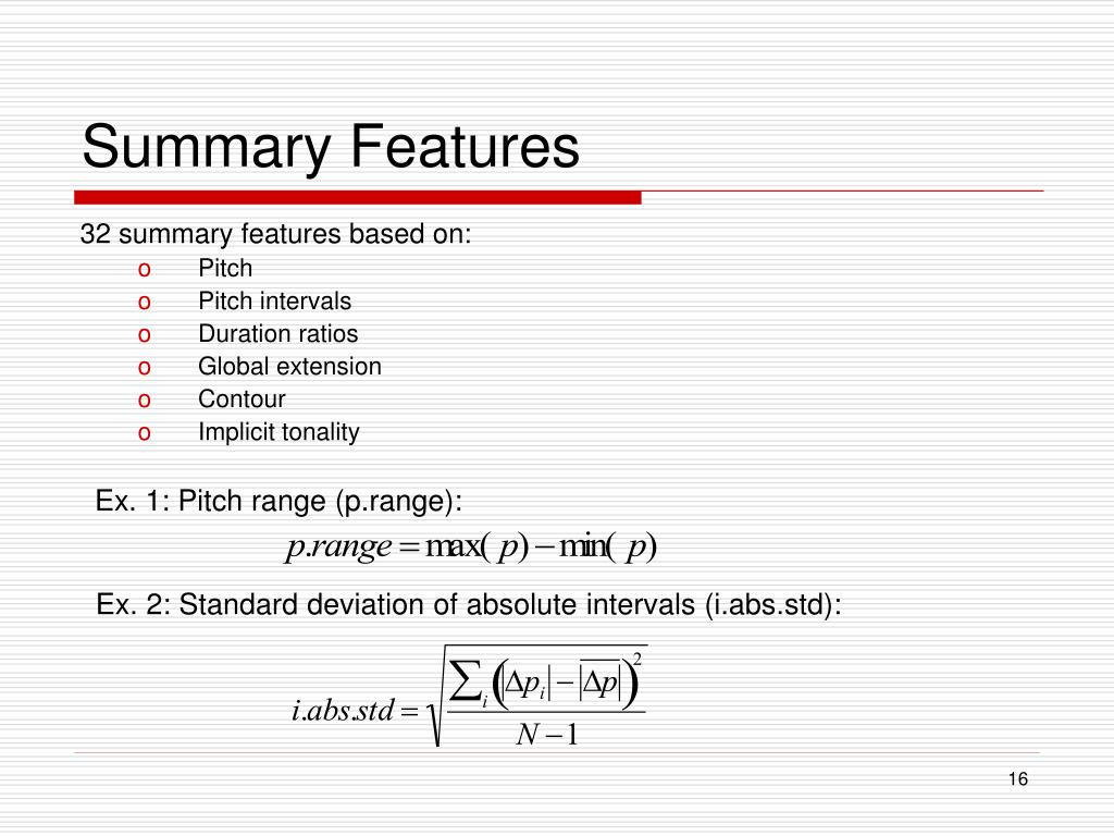 Summary Features
