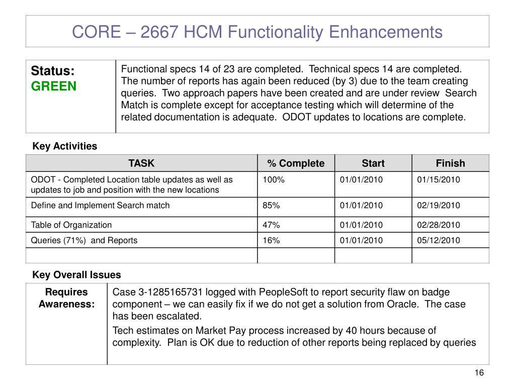 CORE – 2667 HCM Functionality Enhancements