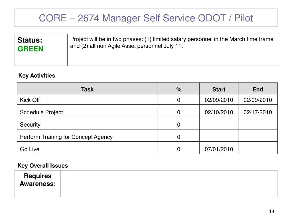 CORE – 2674 Manager Self Service ODOT / Pilot
