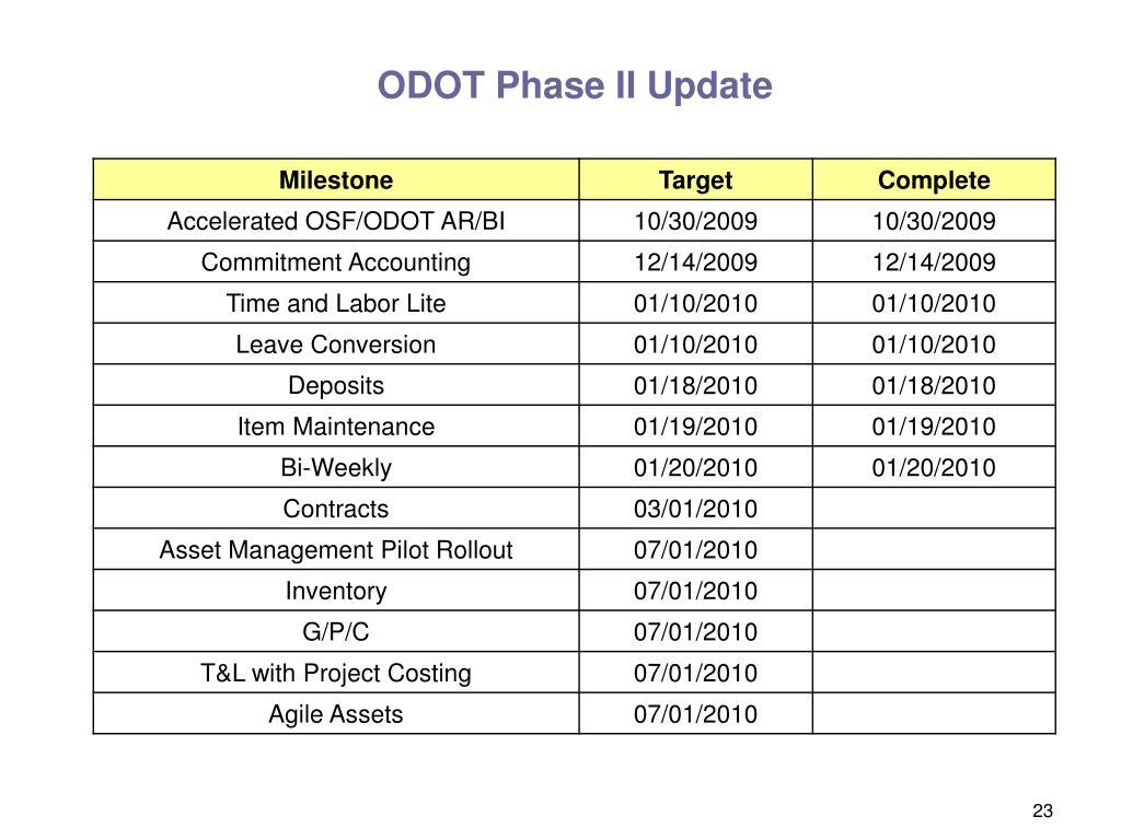 ODOT Phase II Update