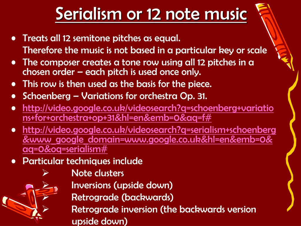 Serialism or 12 note music