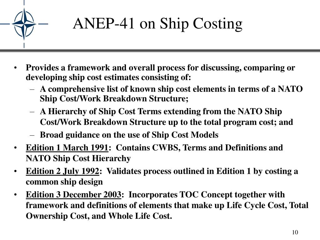 Provides a framework and overall process for discussing, comparing or developing ship cost estimates consisting of: