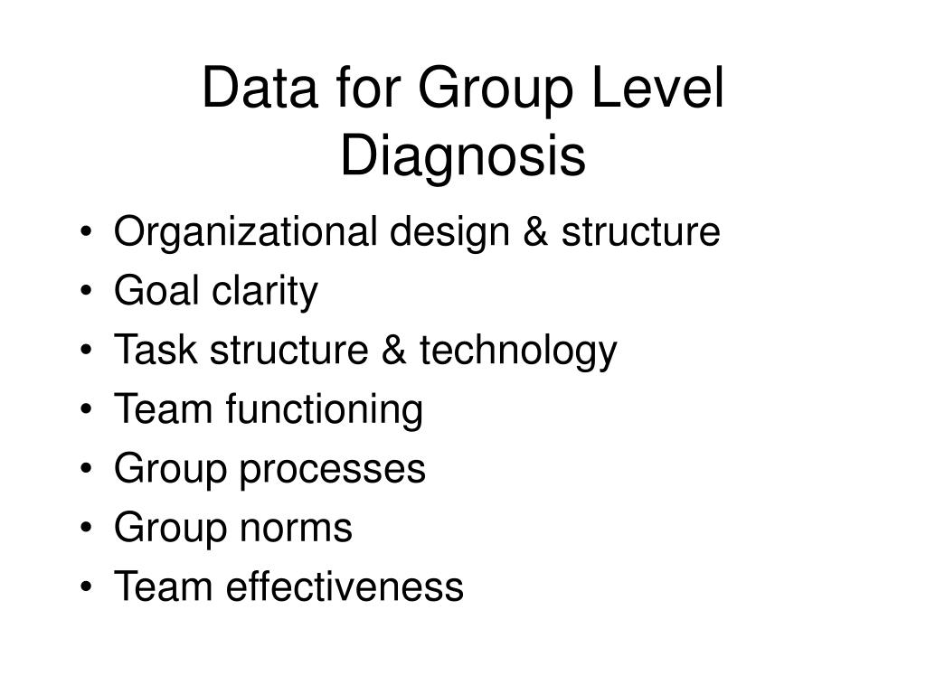 Data for Group Level Diagnosis